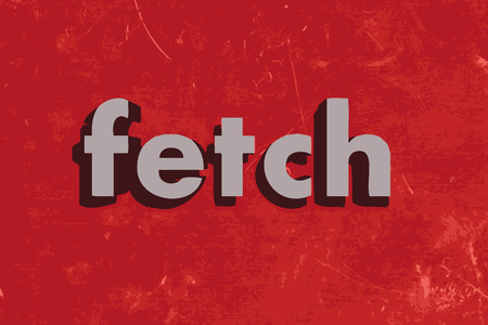 fetch: fetch vector word on red concrete wall Illustration