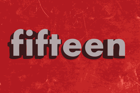 fifteen: fifteen vector word on red concrete wall