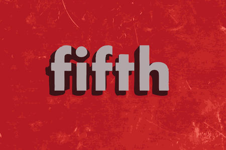 fifth: fifth vector word on red concrete wall Illustration