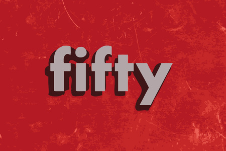 fifty vector word on red concrete wall