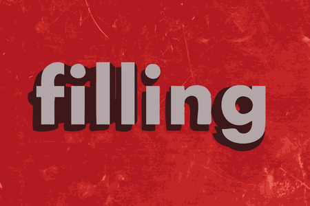 filling: filling vector word on red concrete wall