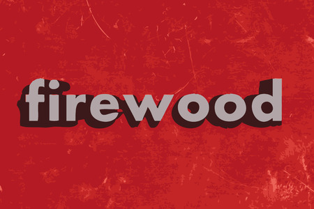 firewood: firewood vector word on red concrete wall Illustration