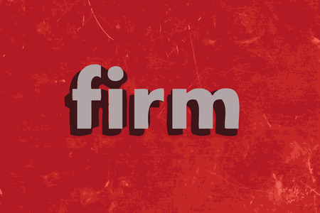 firm: firm vector word on red concrete wall Illustration