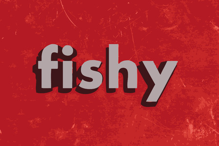 fishy: fishy vector word on red concrete wall Illustration