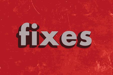fixes vector word on red concrete wall Ilustração