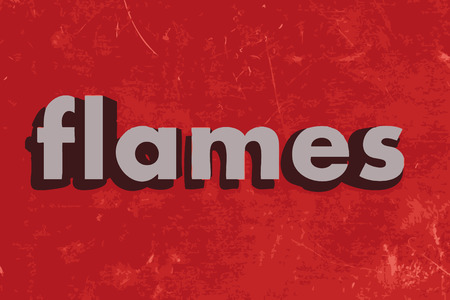 flame letters: flames vector word on red concrete wall