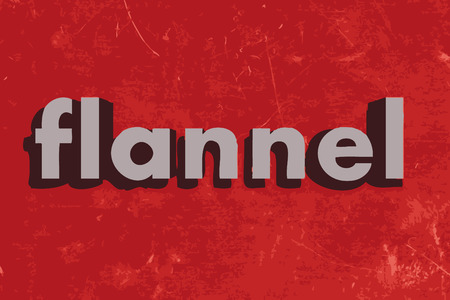 flannel: flannel vector word on red concrete wall