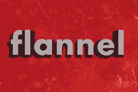 franela: palabra de franela vector en rojo muro de hormig�n