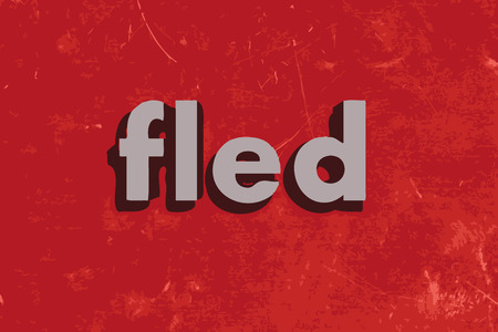 fled: fled vector word on red concrete wall