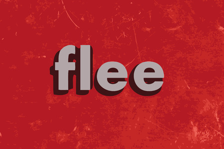 flee: flee vector word on red concrete wall