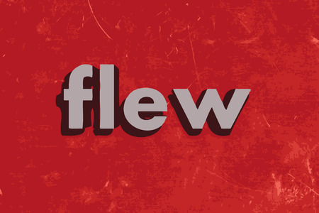 flew: flew vector word on red concrete wall