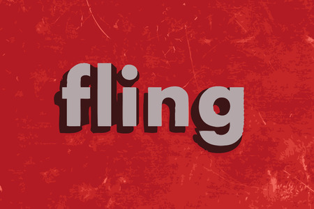 fling: fling vector word on red concrete wall Illustration