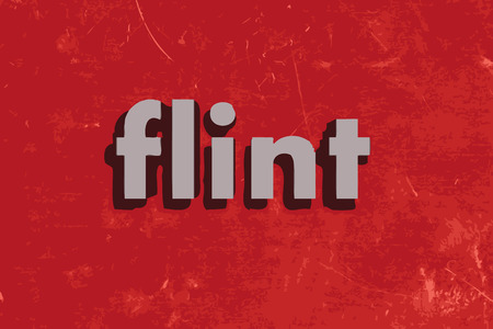 flint: flint vector word on red concrete wall Illustration
