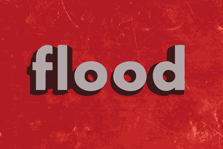 flood: flood word on red concrete wall
