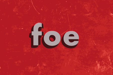 foe: foe vector word on red concrete wall Illustration