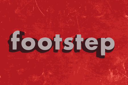 footstep: footstep word on red concrete wall Illustration