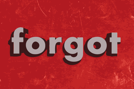 forgot: forgot word on red concrete wall Illustration