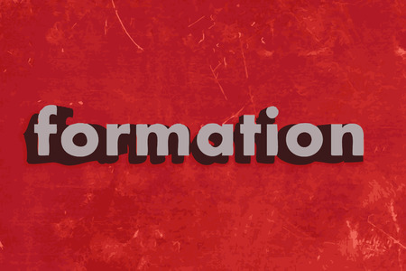 formation: formation vector word on red concrete wall Illustration