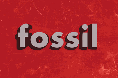 fossil: fossil word on red concrete wall Illustration