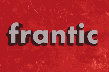 frantic: frantic word on red concrete wall Illustration