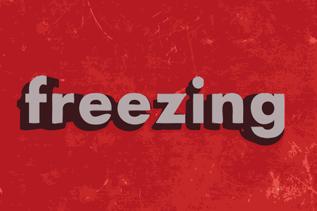 freezing: freezing vector word on red concrete wall