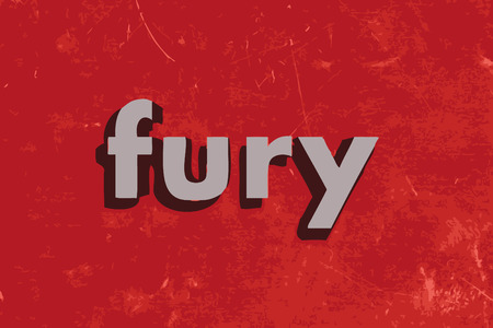 fury: fury word on red concrete wall