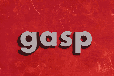 gasp word on red concrete wall