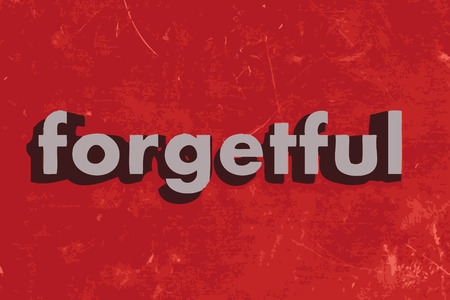 forgetful: forgetful word on red concrete wall