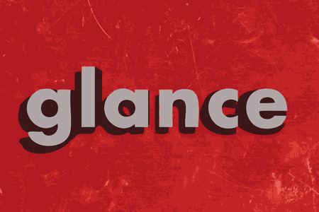 glance: glance word on red concrete wall Illustration