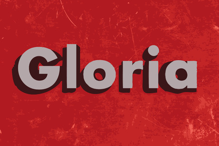 gloria: Gloria word on red concrete wall Illustration