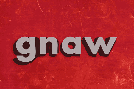 gnaw: gnaw word on red concrete wall Illustration