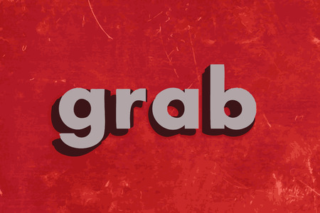 grab: grab word on red concrete wall Illustration