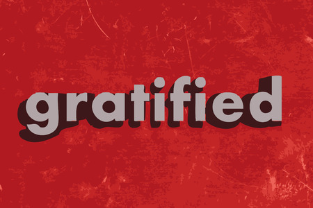 gratified: gratified word on red concrete wall Illustration