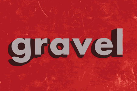 gravel: gravel word on red concrete wall Illustration