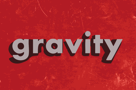gravedad: palabra gravedad en rojo muro de hormigón Vectores