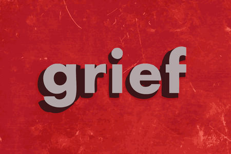 grief: grief vector word on red concrete wall
