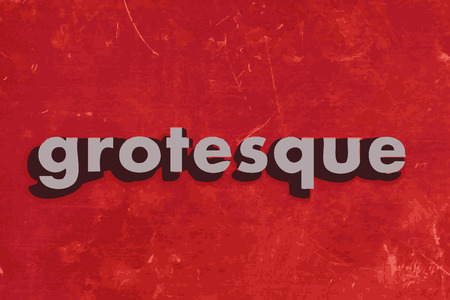 grotesque vector word on red concrete wall Illustration