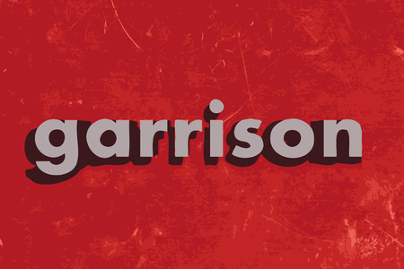 garrison: garrison vector word on red concrete wall Illustration