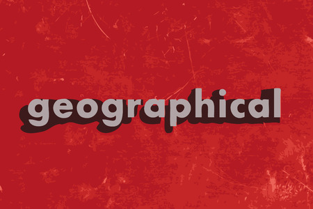 geographical: geographical word on red concrete wall Illustration