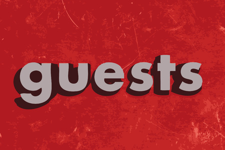 guests: guests word on red concrete wall Illustration