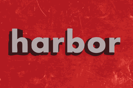 harbor: harbor vector word on red concrete wall