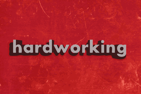 hardworking: hardworking vector word on red concrete wall