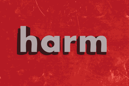 harm: harm word on red concrete wall