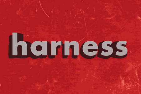 harness: harness word on red concrete wall Illustration