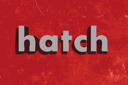 hatch: hatch word on red concrete wall