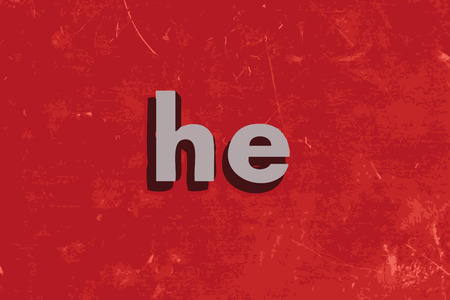he: he word on red concrete wall