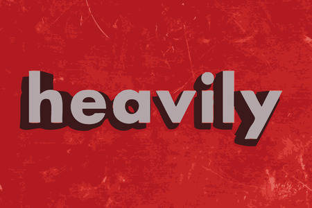 heavily: heavily word on red concrete wall Illustration