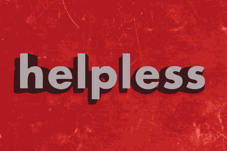 helpless: helpless word on red concrete wall