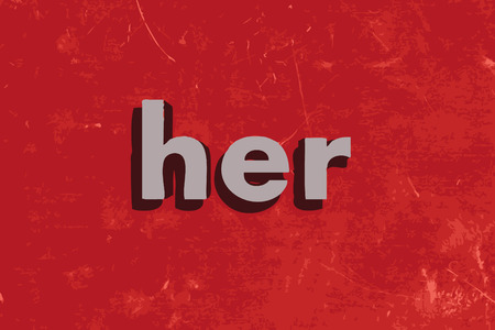her: her word on red concrete wall Illustration