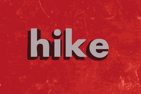 hike: hike word on red concrete wall Illustration
